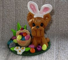 Polymer Clay Yorkie Dog Easter Sculpture by ErinsK9Collectibles, $18.95