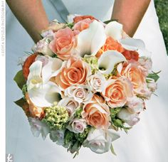 Samantha's bouquet consisted of baby roses, calla lilies, and hydrangeas in peach, pink, yellow, and green.