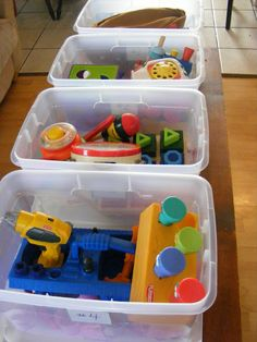 Daily toy rotation bins. Divide kids' toys into four bins and switch them every day. The pieces stay together, and they are excited to see them every morning. I'm on week 2 and in love. My kids actually play with the Mr. Potato Head again, and the messes are a fourth the size.