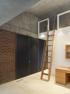 Concrete House by Ogrydziak and Prillinger Architects | HomeDSGN, a daily source for inspiration and fresh ideas on interior design and home decoration. Loft Ladder