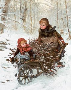 Two Children Bring Home a Barrow-Load of Firewood for the Christmas Fire Giclee Print Vintage Christmas Images, Christmas Scenes, Old Fashioned Christmas, Christmas Past, Victorian Christmas, Vintage Holiday, Christmas Pictures, Christmas Greetings, Winter Christmas
