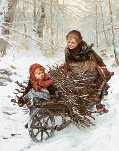 Winter -gathering wood