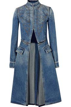 ALEXANDER MCQUEEN Embroidered denim coat. #alexandermcqueen #cloth #coat