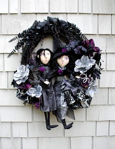 Halloween Wreath Witch and Warlock Wreath Black Purple Green Bats XXL Haunted Floral and Jewels by TisTheSeasonDesign on Etsy
