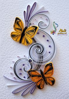 Neli Quilling Art: Quilling card cm- cm/ by june Neli Quilling, Quilling Butterfly, Paper Quilling Cards, Paper Quilling Tutorial, Quilling Work, Paper Quilling Patterns, Quilled Paper Art, Quilling Paper Craft, Paper Crafts