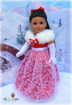Christmas Holiday Gown fits your American Girl by upowlnightcrafting Includes gloves, shoes, and hair clip! Sewing Doll Clothes, American Doll Clothes, Sewing Dolls, Girl Doll Clothes, Doll Clothes Patterns, Clothing Patterns, Girl Dolls, Doll Patterns, Ag Dolls