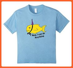 Kids Fish wearing Narwhal or Unicorn horn as a crown - Random Tee 6 Baby Blue - Fantasy sci fi shirts (*Partner-Link)