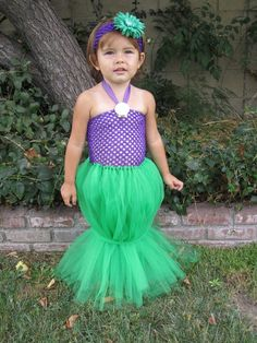 Little Mermaid. Looks like long tutu with elastic woven through the bottom.  No-sew goodness!