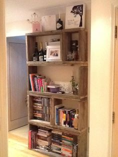 Our bookcase made from old scaffolding planks (acquired for free!)