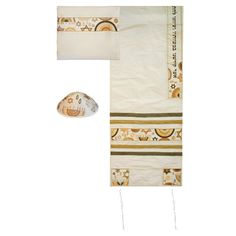 This graceful tallit is a beautiful way to express your Judaism as well as your personal style. The tallit is raw silk with silk appliques sewed onto it in beautiful shades of gold.