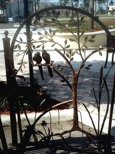 Wrought Iron Parrots on Gate