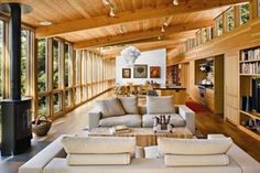 classic shed roof interior; love the expressed natural materials