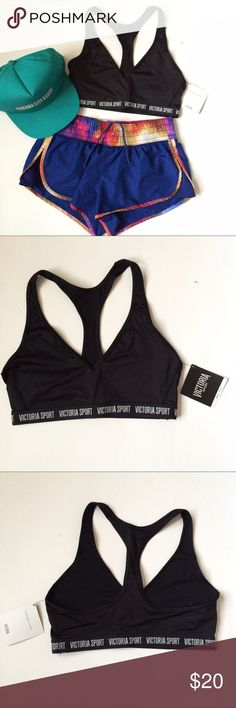 "🆕(S) VS Logo Plunge Sports Bra NWT Victoria's Secret The Player Plunge Sports Bra in black, size small.  ""Victoria Sport"" logo around bottom band.  Racerback style, plunge front and medium support.  A classic black sports bra to match any workout outfit, with a strong message.  If you have any questions, please ask! Victoria's Secret Intimates & Sleepwear Bras"