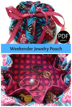 PDf downloadable sewing pattern for the Weekender Jewelry Pouch.