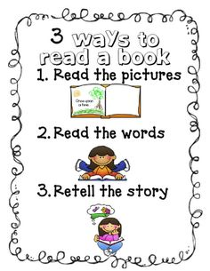 Mrs. Richardson's Class: Daily 5 - 3 Ways to Read a Book - great visual for kindergarteners