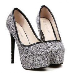 $15.93 Stylish Women's Sexy Heel Pumps With Rhinestones and Sparking Glitter Design