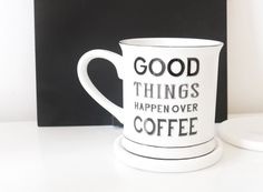 Favourite Picks from Gifts and Pieces - Good Things Happen Over Coffee Good Things, Things Happen, Shit Happens, Mugs, Coffee, Tableware, Gifts, Kaffee, Dinnerware