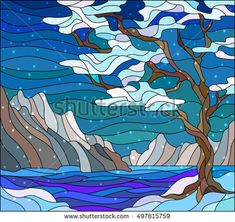 Illustration in stained glass style with abstract winter landscape,the tree on the background of water, mountains and sky