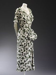 Dress with swag, Jacques Fath, 1949, French; printed viscose rayon and silk, semi-lined