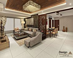 and dining area asian style living room by homify asian Flat Interior Design, Hall Interior, Living Room Interior, Interior Ideas, False Ceiling Living Room, Ceiling Design Living Room, Bad Room Design, House Design, Dining Area Design