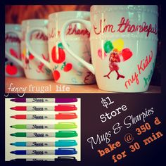 Fancy Frugal Life: $1 Store Mugs & Sharpies (I'm thankful for...) Mugs