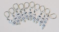 Crochet Stitch Markers, Knitting or Crochet Removable Numbered 10 to 100 Leverback on Etsy, $10.00