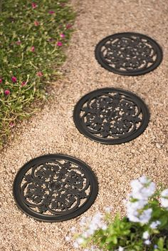 Design a unique pathway, patio or landscape accent with our recycled rubber stepping stones. The shape and texture mimics real railroad ties. Round Stepping Stones, Garden Stepping Stones, Hanging Succulents, Hanging Planters, Sloped Garden, Recycled Rubber, Backyard Landscaping, Landscaping Ideas, Backyard Ideas