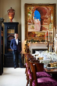 Venetian Opulence - Tim Gosling - Five designers reveal how they decorate their dining rooms at Christmas - from luscious greenery to bold colour clashes - Christmas on HOUSE by House & Garden.