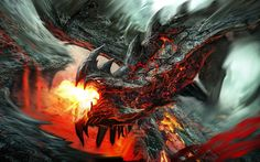dragons breathing fire | Fire breathing lava dragon HD Wallpaper 1920x1080 Fire breathing lava ...