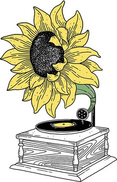 'Singing in the sun' Art Print by merupa Kritzelei Tattoo, Tattoos, Art Sketches, Art Drawings, Unique Drawings, Watercolor Flower, Sun Art, Aesthetic Stickers, Drawing Lessons