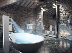 bathroom with all stone walls