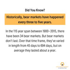 Historically, bear markets have happened every three to five years. #trading #investing #traders #investors #finance #mmfsolutions