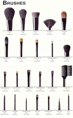 All make up brushes aren't created equal. Make sure you know what brush you should use for each different kind of make up. This handy little chart will help you remember if you happen to have a slip up.