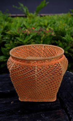 Artículos similares a Cesta set, tamaño mediano, Macrame, calabaza, jarra, plato, hecho a mano, colores calabaza naranja y abedul, cuerda, almacenamiento en Etsy