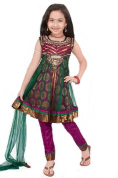 This is a designer Kids Anarkali made of fancy fabric with a boat neck and beautiful bead work and patchwork.  This can be worn sleeveless or with sleeves that are provided on the inside and can be stitched on if so desired.
