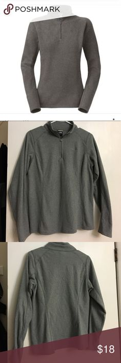Women's North Face Pull Over 100% Polyester North Face 1/4 zip pullover. Great pre-owned condition.   *Cover photo to show fit, as shown by North Face. The North Face Tops Sweatshirts & Hoodies