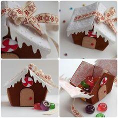 Casa de doces em feltro - Como Fazer Felt Ornaments, Christmas Ornaments, Easy Felt Crafts, Felt House, House Template, Felt Baby, Felt Food, Christmas Decorations, Holiday Decor