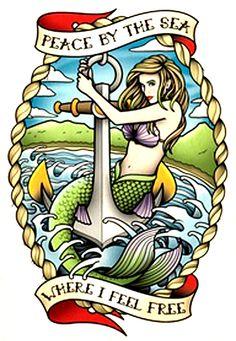 Cool navy style mermaid tattoo flash - tatuaje de una sirena - tattoo flash