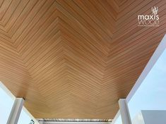 A fishbone pattern soffit. Product : maxisWOOD SOFFIT Color: Teak Wood Composite, Teak, Pattern, Color, Design, Home Decor, Decoration Home, Room Decor, Patterns