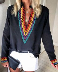 Ethnic Colorblock Long Sleeve Casual Blouse Women's Best Online Shopping - Offering Huge Discounts on Dresses, Lingerie , Jumpsuits , Swimwear, Tops and More. Blouse Online, Vintage Style Outfits, Printed Blouse, Pattern Fashion, Shirt Blouses, Ideias Fashion, Long Sleeve, Sleeves, Clothes