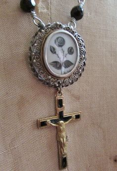 Antique mourning necklace sterling sepia hand by madonnaenchanted, $179.00