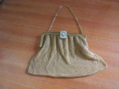 Whiting & Davis Gold Tone Mesh Purse with Clear by MICSJWL on Etsy