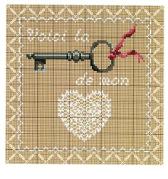 Skeleton key and heart Cross Stitch Charts, Cross Stitch Patterns, Embroidery Art, Embroidery Patterns, 123 Stitch, Needlepoint Designs, Plastic Canvas Patterns, Needle And Thread, Needlework