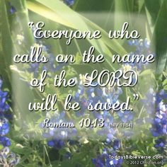 """""""Everyone who calls on the name of the Lord will be saved."""" - Romans 10:13    From www.TodaysBibleVerse.com"""