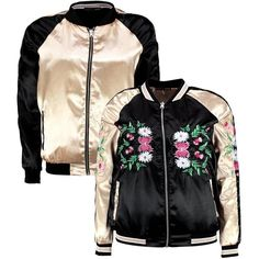 Boohoo Jordyn Embroidered Reversable Bomber Jacket | Boohoo (590.700 IDR) ❤ liked on Polyvore featuring outerwear, jackets, duster coat, bomber style jacket, embroidered jacket, flight bomber jacket and puffer jacket