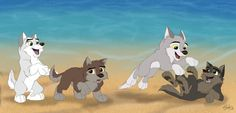 the wolf from my devient icon. Her name is Aniu, the white wolf. The wolf next to her is her brother, Nanook. pup Aniu and her brother. Anime Wolf, Balto Film, Balto And Jenna, Cartoon Wolf, Wolf Spirit Animal, Furry Wolf, Character Design Animation, Fox Art, Anime Animals