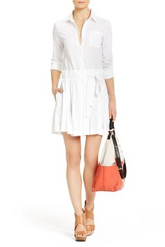 DVF | Timeless and modern, the Montana in white is a crisp cotton shirt dress with pleated skirt.