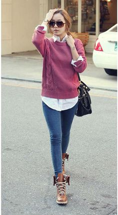Chic Women Elegance O-Collar Slim Sweater