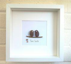 Pebble art picture love birds wedding gift idea anniversary hearts handmade
