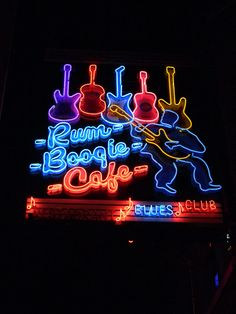 Blues (with a little red) in the sign at Rum Boogie Cafe ~ Destin, Florida!